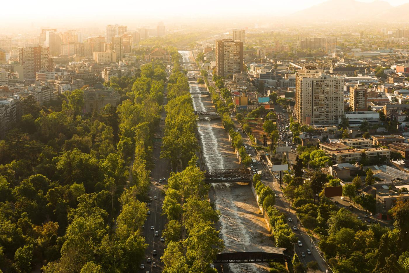 Imagen aérea de Santiago