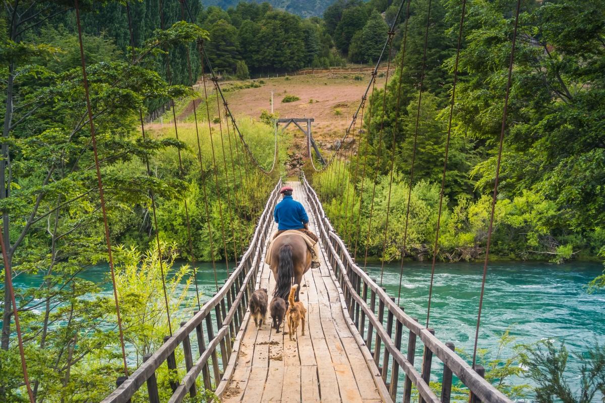 Imagen de un hombre cruzando a caballo uno de los puentes colgantes en Futaleufú