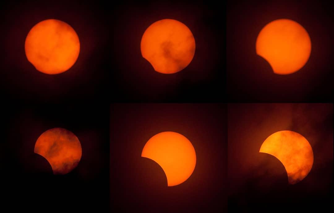 Imagen de las fases del eclipse del año 2019