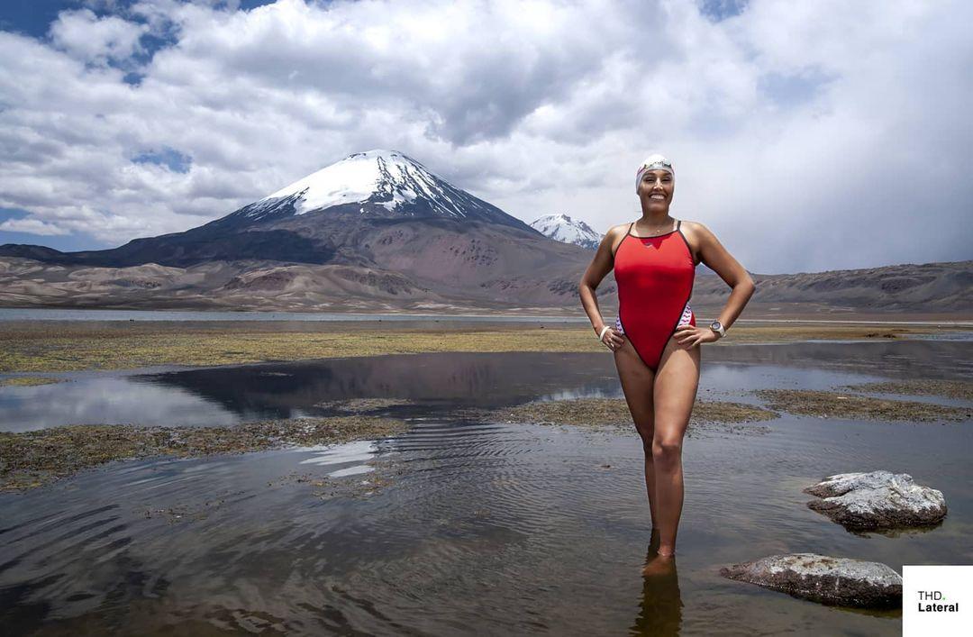 Imagen de Bárbara Hernández en el Lago Chungara
