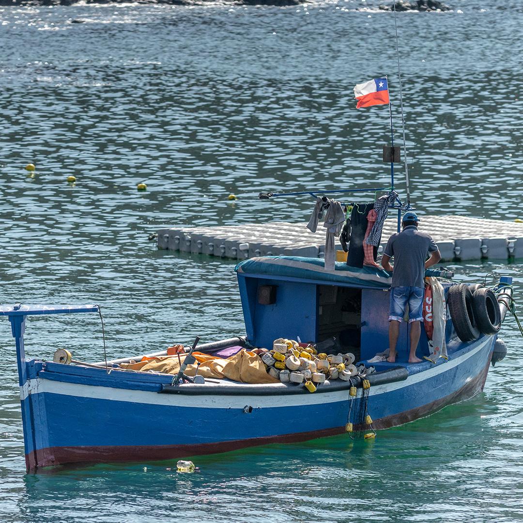 Bote de pesca con pescador adentrándose